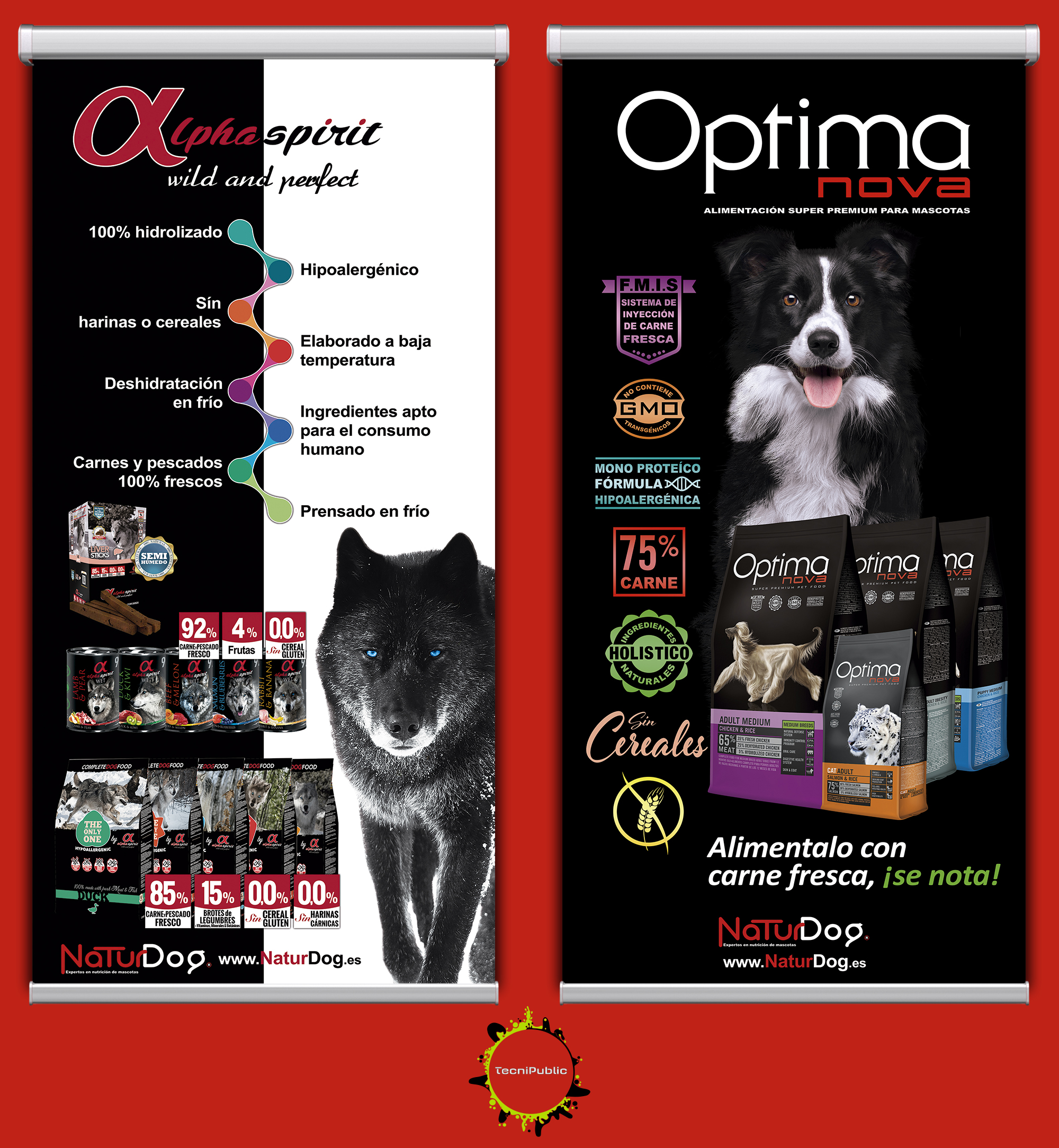 carteles Optimanova y AlphaSpirit 100x211cm