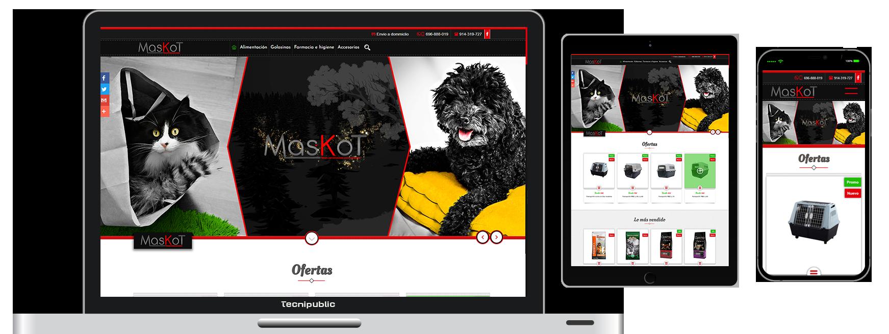 Web diseño fluido para Maskot - 2017
