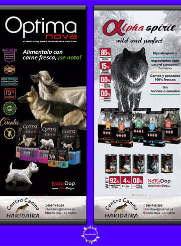 Cartel de Optimanova y AlphaSpirit para Haridaira centro canino en la isla de La Palma