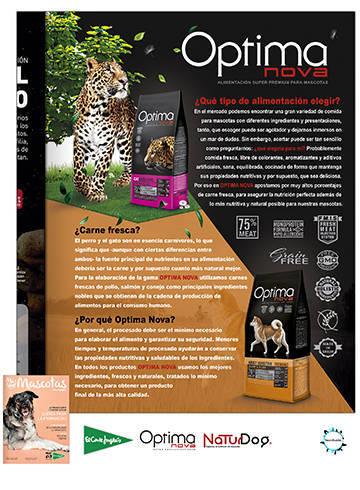Publicidad de OptimaNova en la revista Más que Mascotas del Corte Inglés