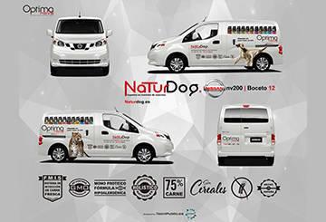 Diseño de la serigrafía para los vehículos de reparto de NaturDog 2016
