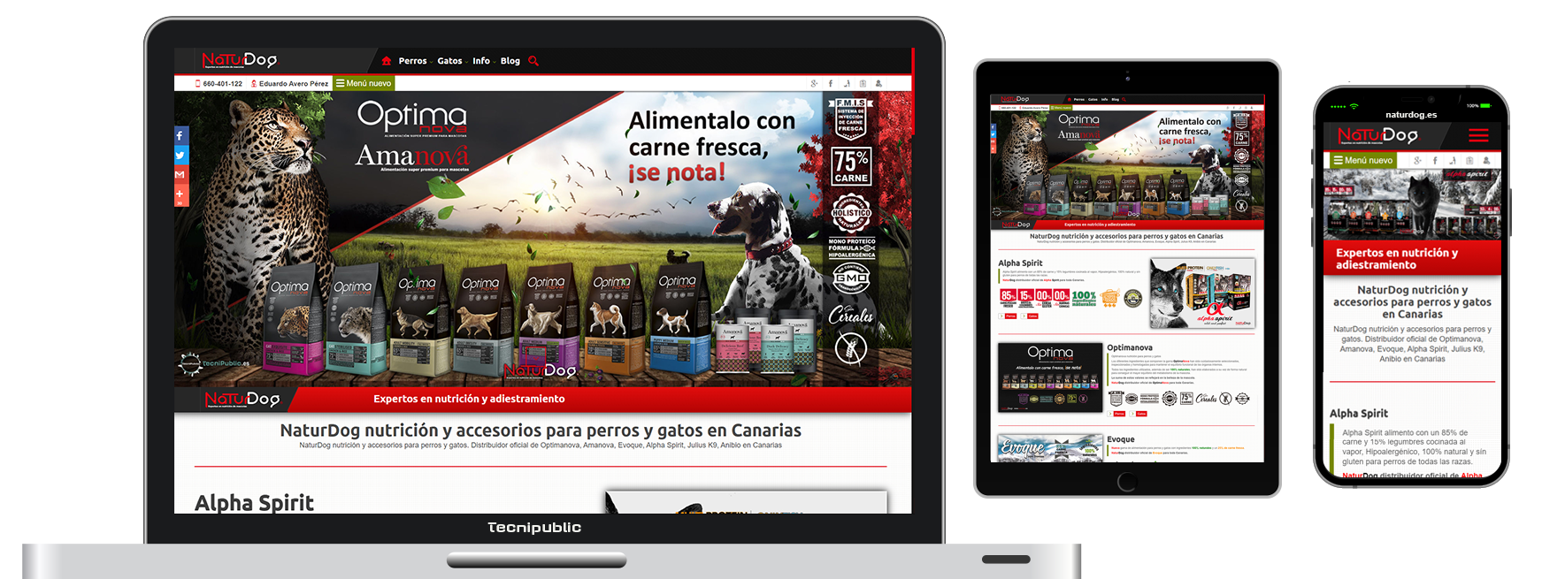 Web diseño fluido para NaturDog - 2015